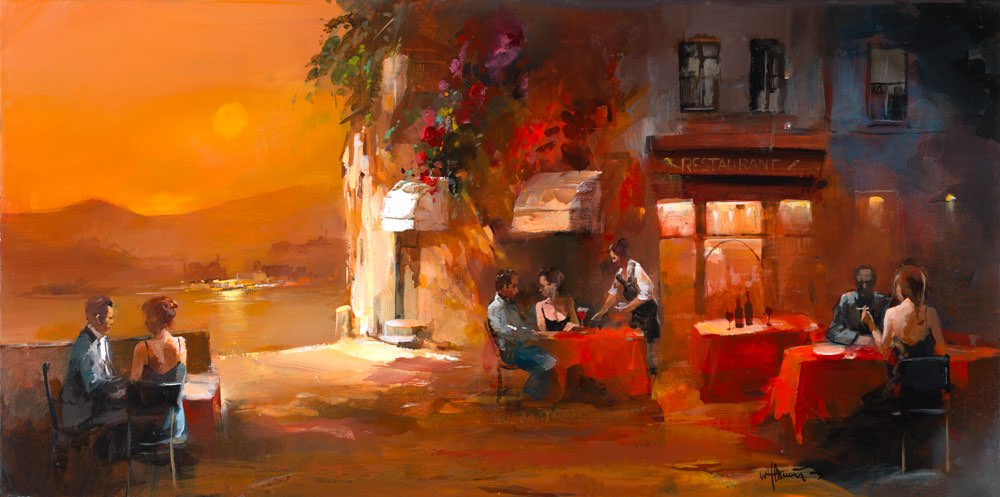 Painted canvas Spanish restaurant with a romantic terrace version 1
