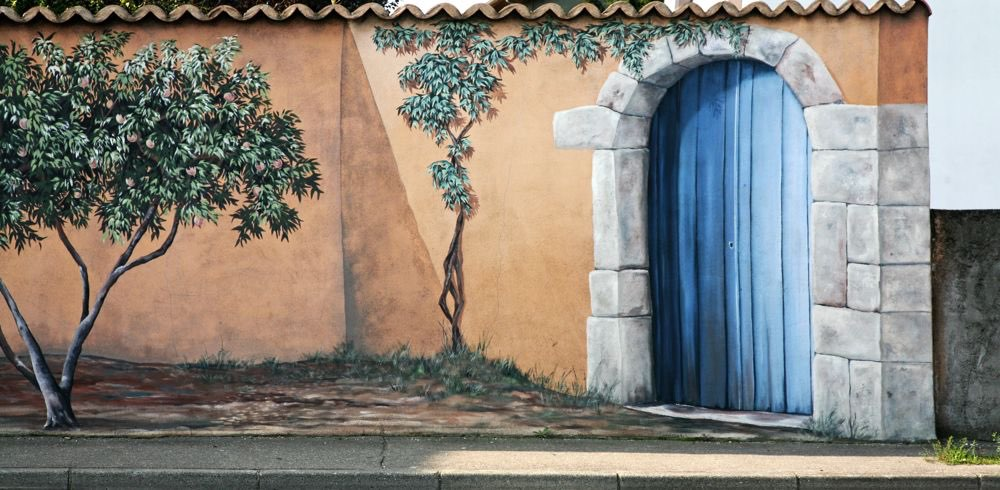 3D Wall painting at a village in France version 2