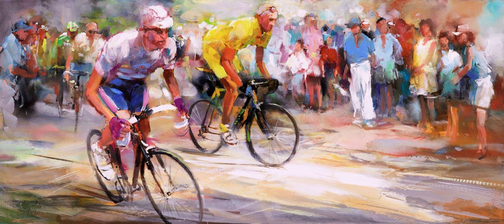 Painted canvas . Cyclists